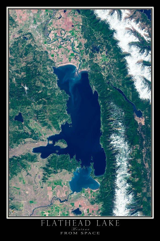 Satellite poster map of flathead lake montana rocky mountain maps 71kcman3trlsl1000 gumiabroncs Images