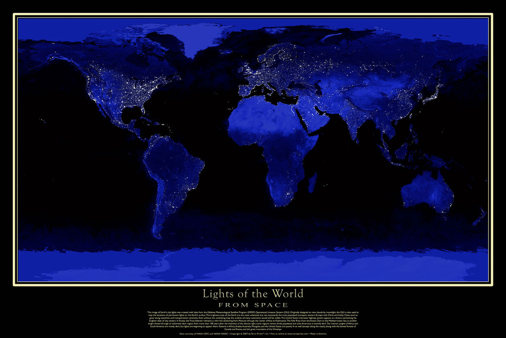 Satellite poster map of lights of the world at night rocky lights of the world1024x1024 gumiabroncs Images