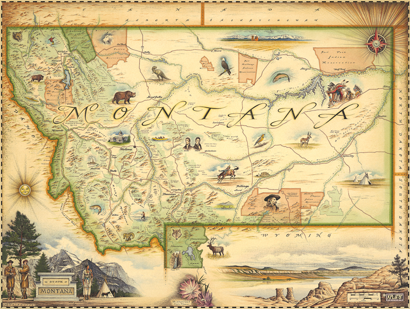 Montana State Map By Xplorer Maps Rolled Rocky Mountain Maps - Montana state map
