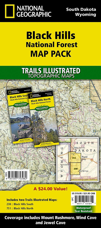 Black Hills National Forest Map Pack Bundle National Geographic - Trails illustrated maps