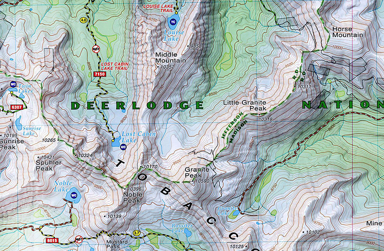 Tobacco Root Mountains Map - Rocky Mountain Maps & Guidebooks