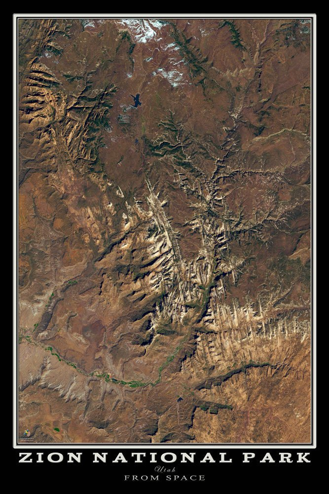 Terra Earth Map.Satellite Poster Map Of Zion National Park Rocky Mountain Maps