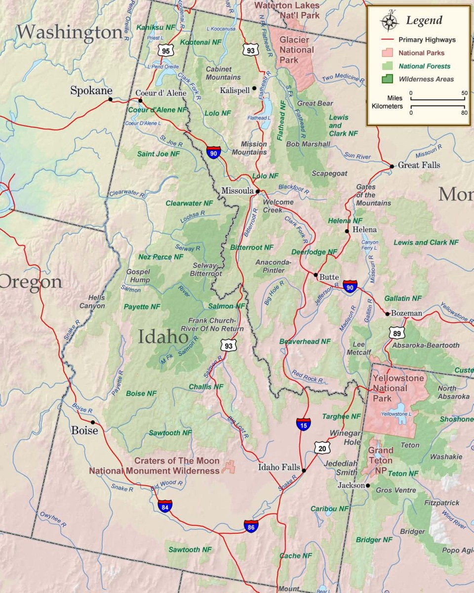 Map Of Major Mountains In Idaho Pictures To Pin On