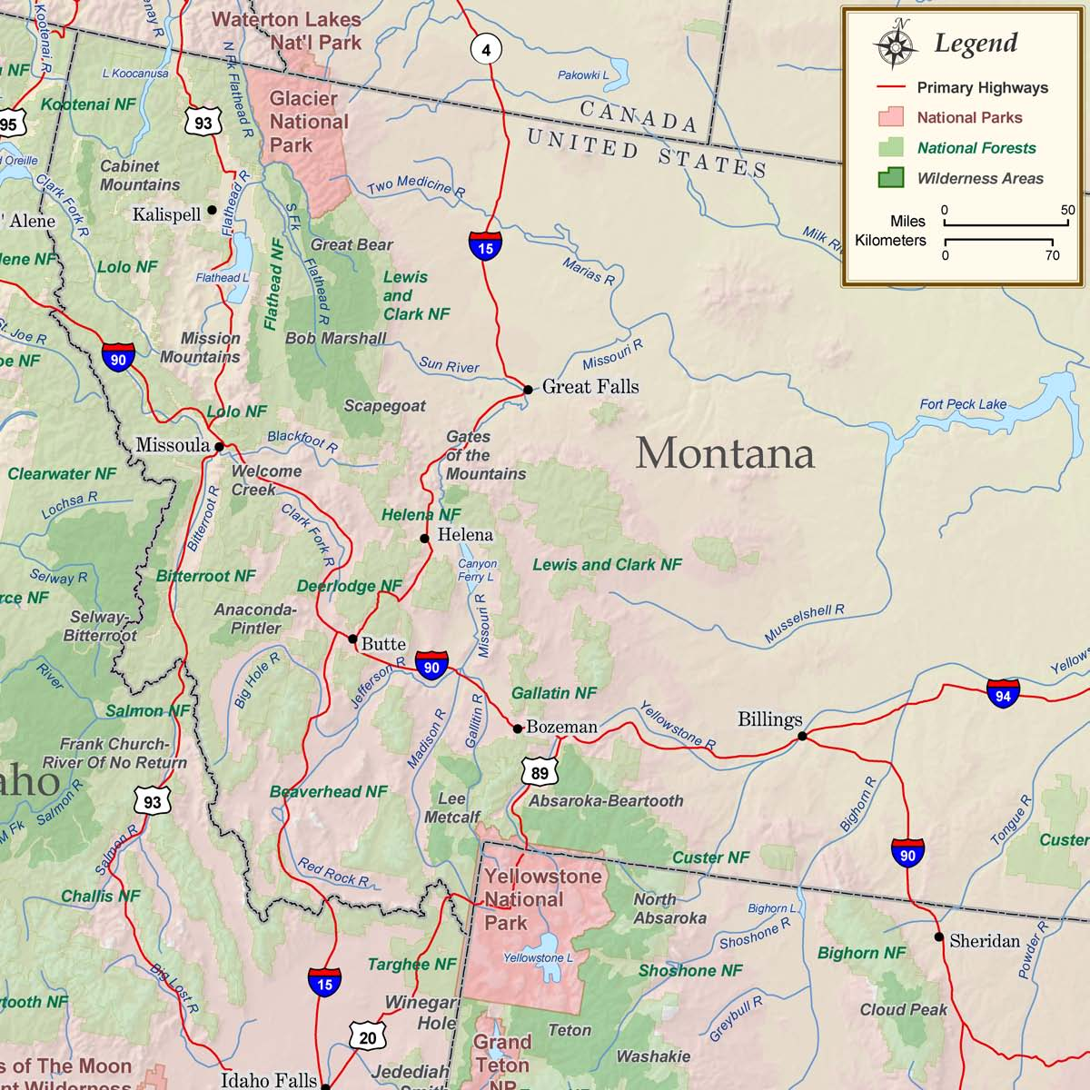 Montana National Parks, Forests and Wilderness Map - Rocky Mountain ...
