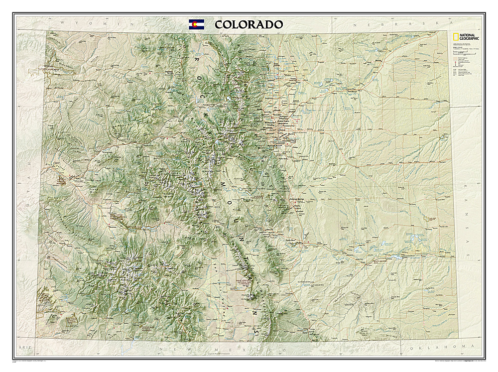 Colorado Wall Map By National Geographic Maps Rocky Mountain Maps - Laminated state wall maps