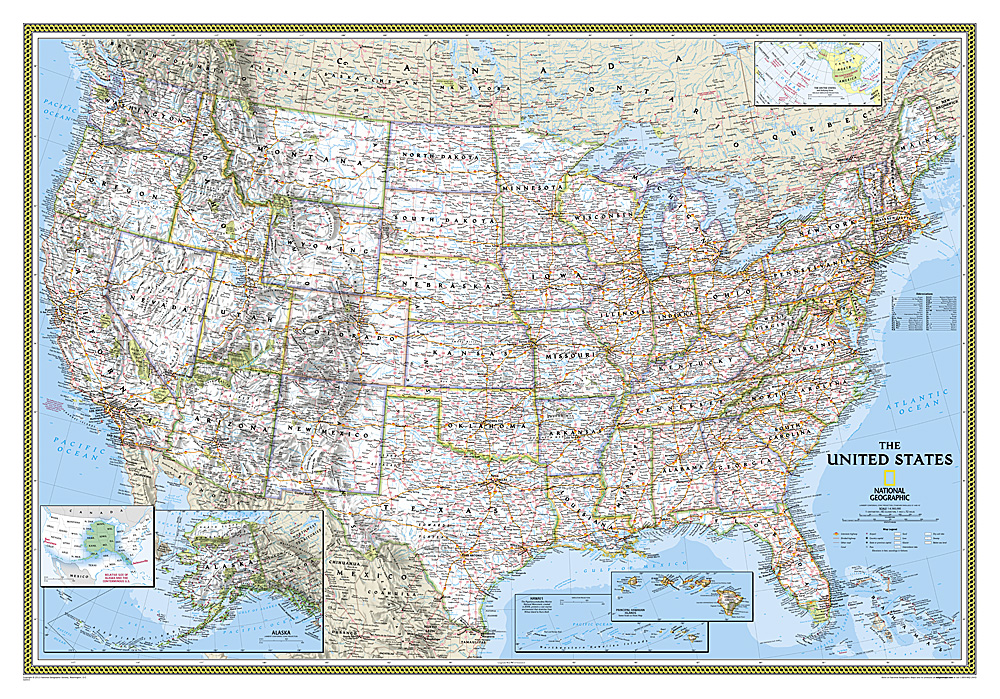 Natl Geographic United States Classic Map Laminated Rocky - United states wall map laminated