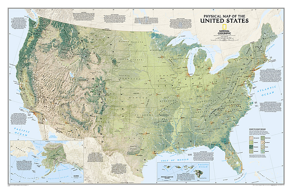 United States Map Rocky Mountains.Nat L Geographic United States Physical Map Laminated Rocky
